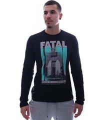 camiseta fatal future manga longa preto - masculino
