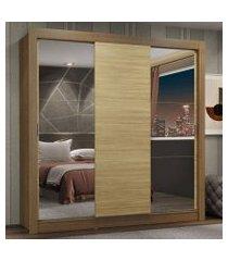 guarda-roupa casal madesa lyon plus 3 portas de correr com espelhos 4 gavetas rustic/carvalho rustic