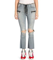 distressed lace-up flare jeans