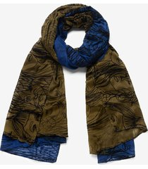 rectangular arty faces scarf - blue - u