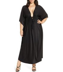 plus size women's coldesina tie front caftan maxi dress