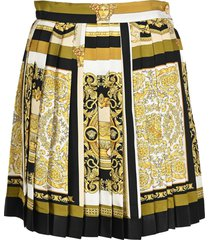 versace barocco mosaic print pleated skirt