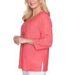 alfred dunner petite look on the bright side textured top