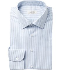 camicia da uomo su misura, grandi & rubinelli, natural stretch righe azzurre, quattro stagioni | lanieri