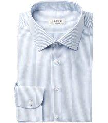 camicia da uomo su misura, grandi & rubinelli, natural stretch righe azzurre, quattro stagioni