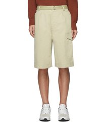 finx' belted side patch pocket cotton chino shorts