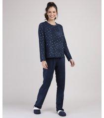 pijama de fleece feminino estampado de estrelas metalizadas manga longa azul marinho