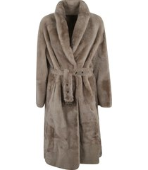 brunello cucinelli tie-waist fur coat