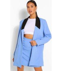 contrast collar longline blazer, blue