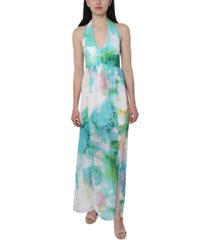 bebe juniors' printed chiffon halter maxi dress