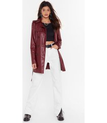 womens heart trenching faux leather belted coat - maroon