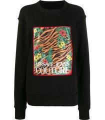 versace jeans couture jungle print sweatshirt - black