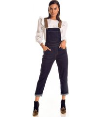 macacão jeans zait longo esmeralda azul marinho