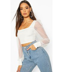 dobby mesh square neck crop top, ivory