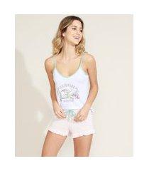 pijama feminino pequena sereia ariel com babados alça fina branco