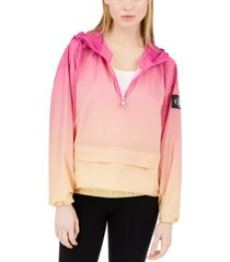 calvin klein jeans ombre water-resistant hooded rain jacket