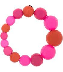 monies colar assimétrico com aplicação de contas - rosa