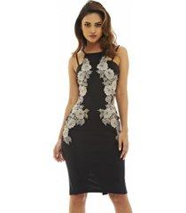 ax paris contrast crochet detail dress