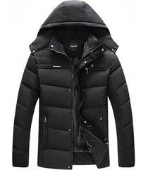 chaqueta capota abrigo hombre invierno gruesa 1298 negro