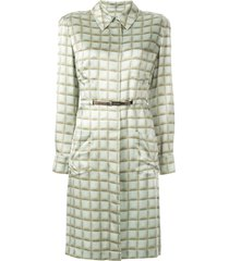 chanel pre-owned long-sleeve shirt dress - green