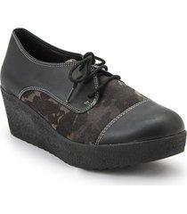 zapato de cuero negro combinado vemmas 8722