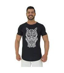 camiseta longline alto conceito coruja modern owl preto