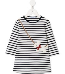 familiar striped crossbody dog dress - black