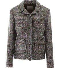 marco de vincenzo multicoloured tweed blazer