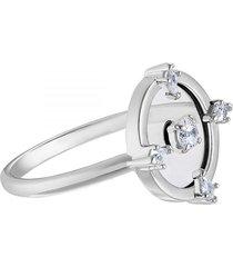 anillo con motivo norte, blanco, baño de rodio  5515023