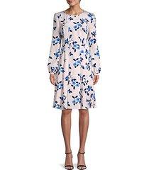 floral silk a-line dress