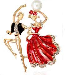 elegante danza danza persone spille strass perla spilla abbigliamento decorazione donna gioielli