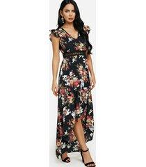 maxi negro con ribete de encaje de crochet con estampado floral y espalda abierta vestido