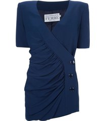 gianfranco ferré pre-owned jacket and skirt suit - blue