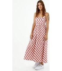 vestido de mujer, silueta amplia de diseño midi, cuello cuadrado de tiras con estampado a rayas