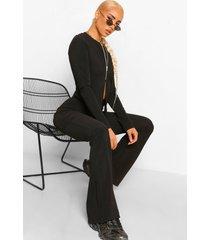 geribbelde cardigan met rits en broek met wijde pijpen set, black