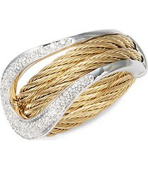 18k white gold & stainless steel statement ring
