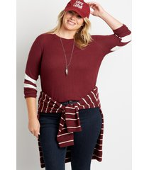 maurices plus size womens 24/7 solid varsity stripe sleeve rib tee red
