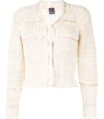 lorena antoniazzi sequin-embellished cropped cardigan - white
