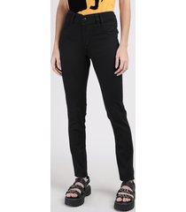calça de sarja feminina sawary skinny levanta bumbum cintura alta preta