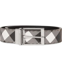 burberry check-print leather belt - brown