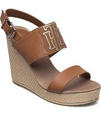th elastic high wedge sandal sandalette med klack espadrilles brun tommy hilfiger