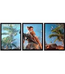 kit 3 quadros decorativos com moldura para sala quarto geek nerd jogos free fire