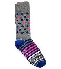 travel tech dot & stripe mid-calf socks, 1-pair