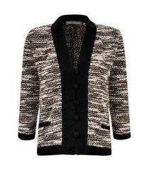 casaqueto kika simonsen tweed preto