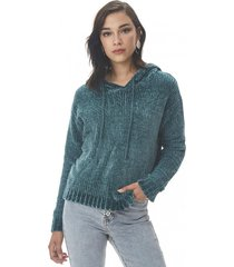 sweater hoodie chenille verde oscuro corona