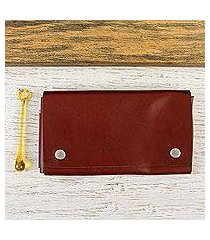 leather cell phone case, 'seamless in russet' (7.5 inch) (mexico)