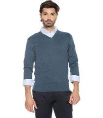 sweater azul 58 preppy m/l c/v tejido delgado