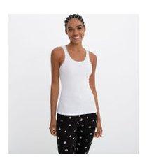 blusa de pijama em ribana sem mangas e com renda no decote | lov | branco | g