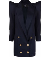 balmain double-breasted structured blazer - blue