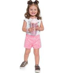 shorts infantil brandili neon feminino